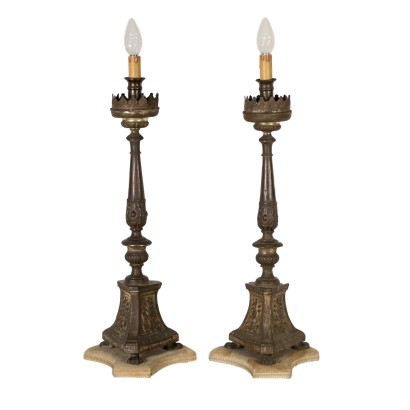 Pair of Electrified Candle Holders Wood Italy 19th Century