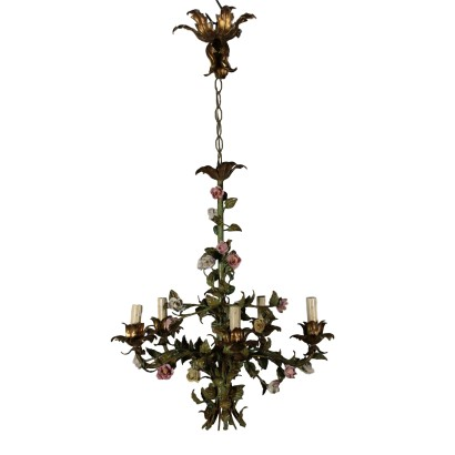 Chandelier with Flowers Iron Italy 20th Century