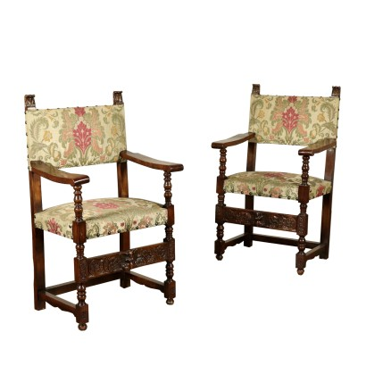 Pair of Highchairs Walnut Italy 18th and 20th Century
