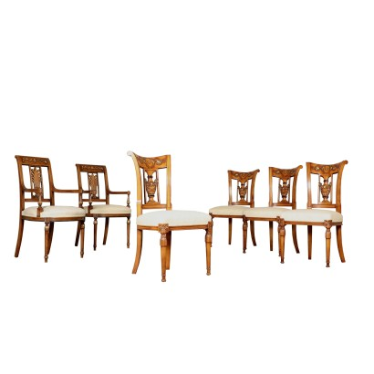 Two Revival Armchairs and Four Chairs Italy 20th Century