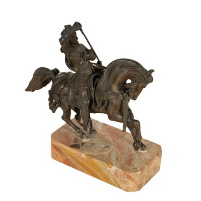 Knight on Horseback Bronze Sculpture Marble Italy Late 19th Century