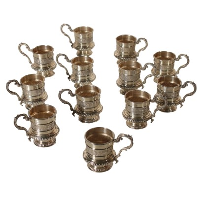 Set of Twelve Silver Cups Italy Mid 20th Century
