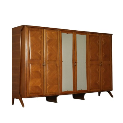 Wardrobe with Mirror Walnut Veneer Vintage Italy 1950s