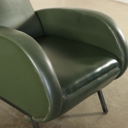 Reclining Armchair Foam Padding Leatherette Vintage Italy 1960s