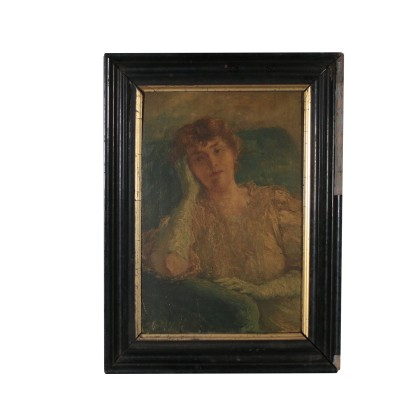 Portrait of Woman Oil Painting on Canvas 20th Century
