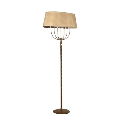 Floor Lamp Brass Fabric Lampshade Vintage Italy 1940s-1950s