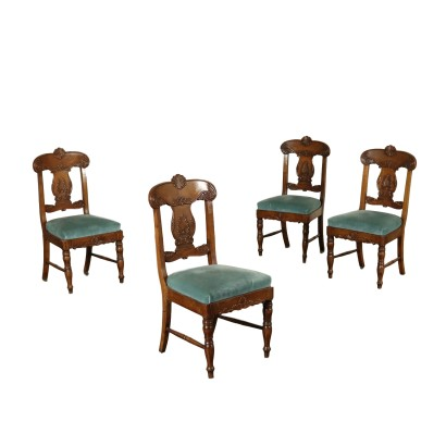 Set of Four Restoration Walnut Chairs Italy 19th Century