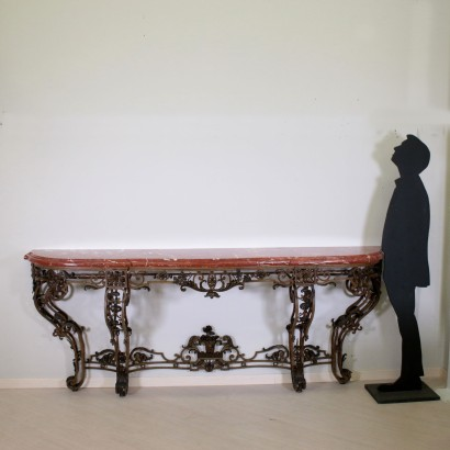 Lacquered Iron Console Table Red Marble France Late 1800s