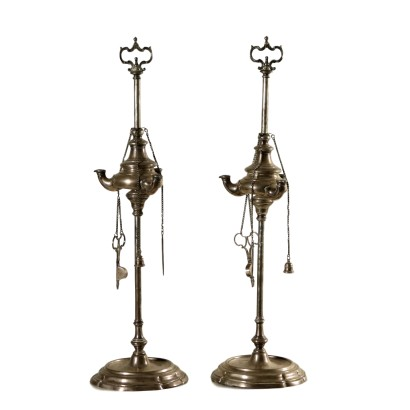 Pair of Silver Oil Lamps Italy 18th Century