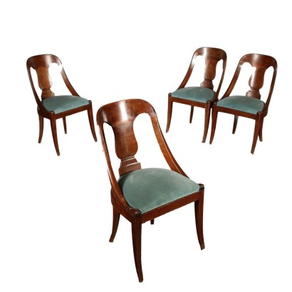 Set of Four Revival Gondola Chairs Italy 20th century