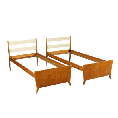 Pair of Single Beds Teak Veneer Vintage Italy 1960s