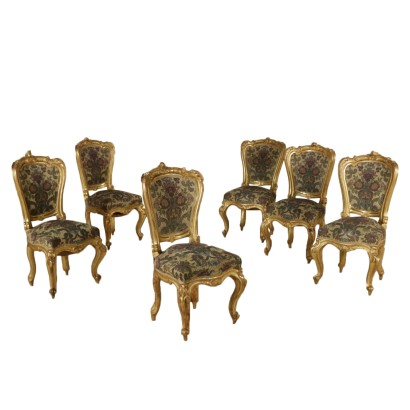 Set of Six Gilded Chairs Italy 19th Century