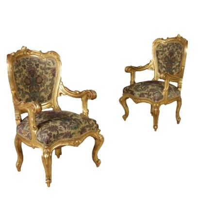 Pair of Gilded Armchairs Italy 19th Century