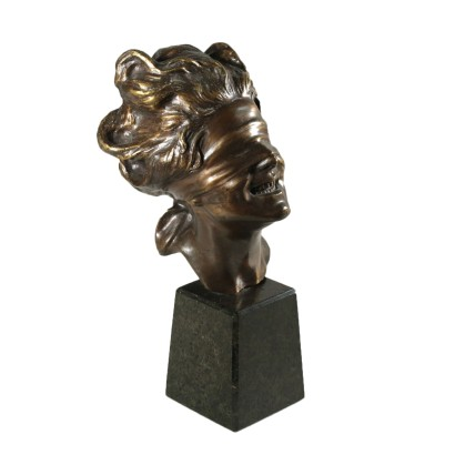 Blindfolded Goddess by Vincenzo Aurisicchio Bronze Sculpture 1900s