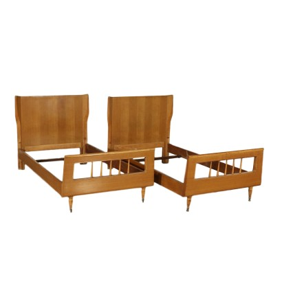 Pair of Single Beds Ash Veneer Vintage Italy 1950s