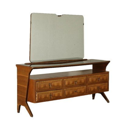 Chest with Mirror Walnut Veneer Vintage Italy 1950s