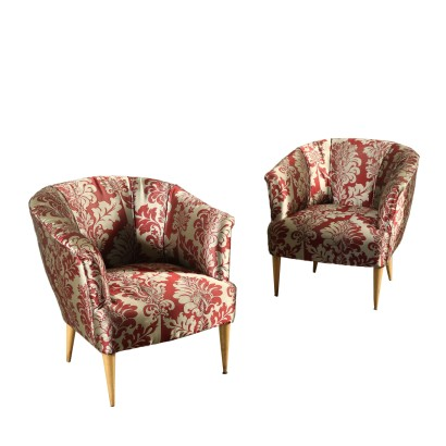Pair of Armchairs Fabric Springs Vintage Italy 1950s-1960s