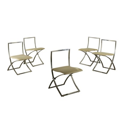 Set of Folding Chairs by Marcello Cuneo Vintage Italy 1970s