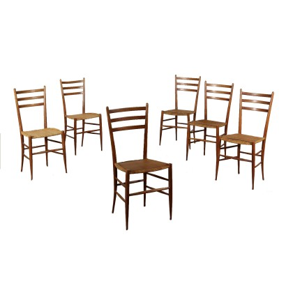 Set of Chairs Beech Indian Cane Vintage Italy 1950s
