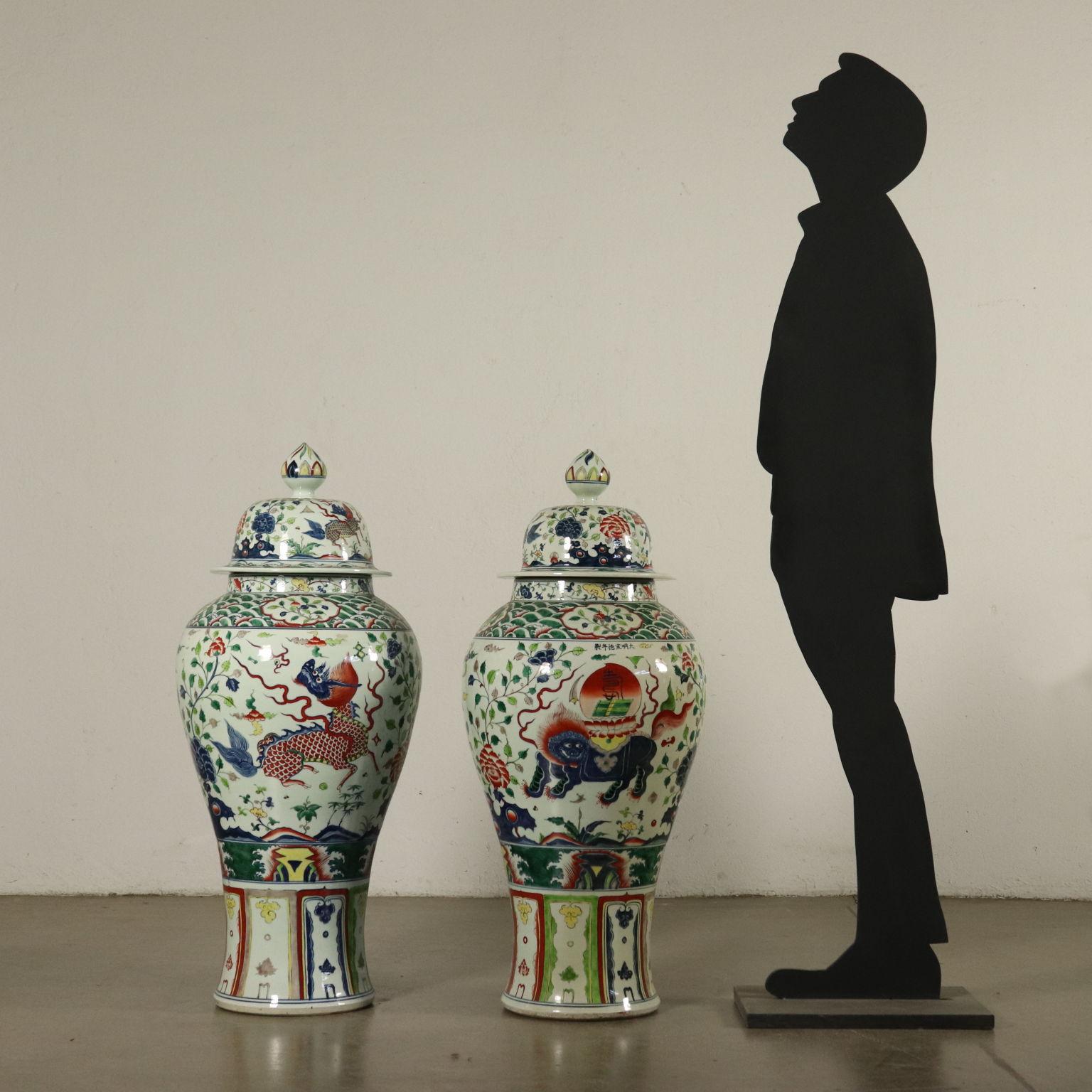 Vasi Interno Grandi Dimensioni coppia di grandi vasi cinesi - ceramiche - antiquariato
