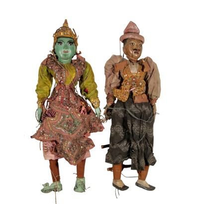 Pair of Puppets Painted Wood Burma 20th Century