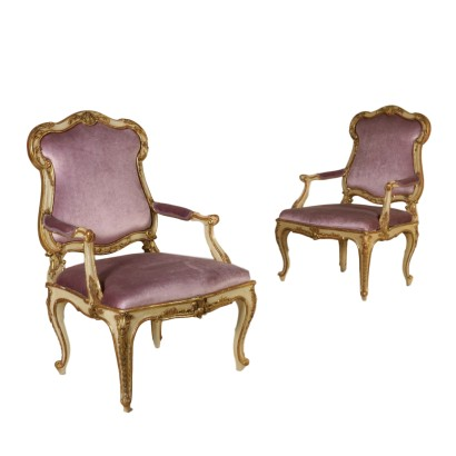 Pair of Armchairs Carved Lacquered Walnut Mid 1800s