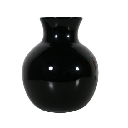 Venini Vase Black Blown Glass Vintage Italy 1989