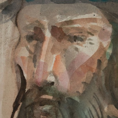 Portrait by Trento Longaretti Head of an old man 20th Century