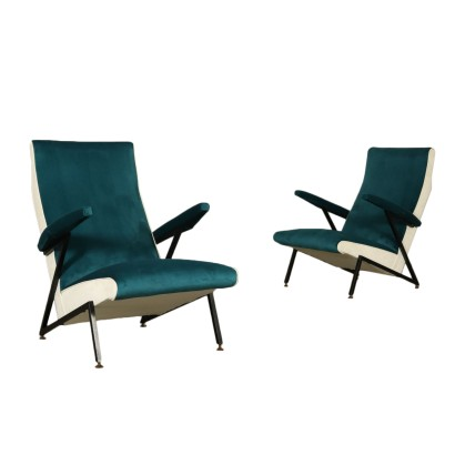Pair of Armchairs Velvet Foam Padding Vintage Italy 1950s