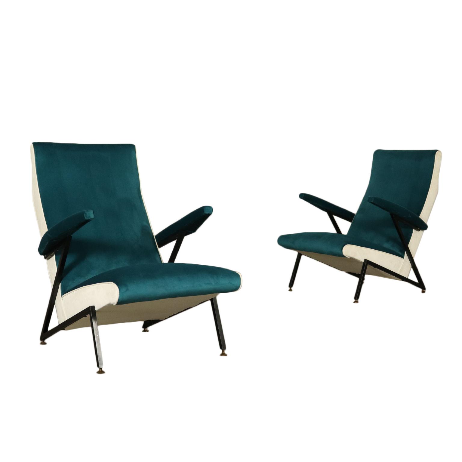 Paar Sessel Samt Schaumpolsterung Vintage Italien 50er Jahre