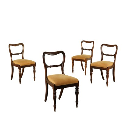 Set of Restoration Chairs Rosewood France 19th Century