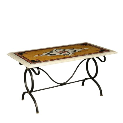 Table with Marble Top Iron Brass Italy 20th Century