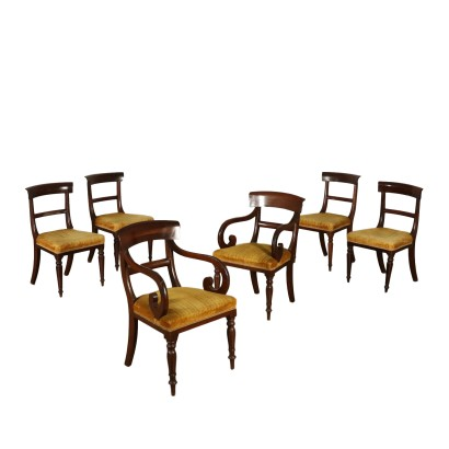 Pair of Armchairs and four Chairs Mahogany France 19th Century