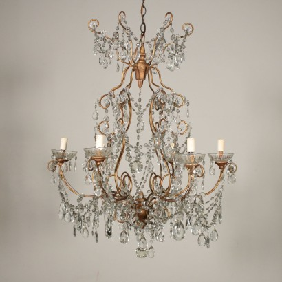 Chandelier with Glass Pendants Italy 20th Century