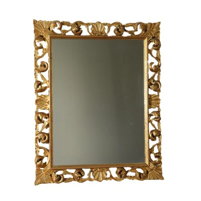 Carved Perforated Frame with Mirror Italy 20th Century