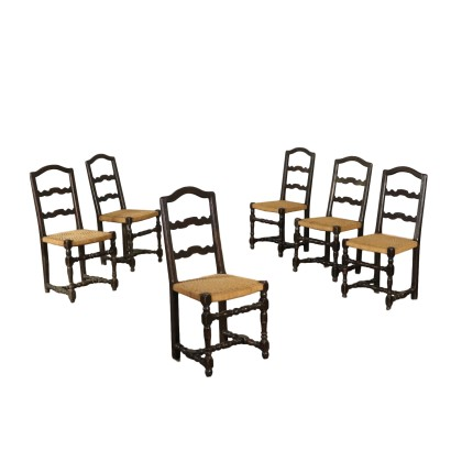 Set of Six Walnut Chairs Italy 18th Century