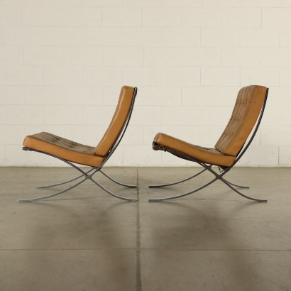 Pair of Barcelona Armchairs Leather Vintage Italy 1970s