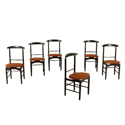Set of Chairs Ebonized Wood Fabric Vintage Italy 1960s