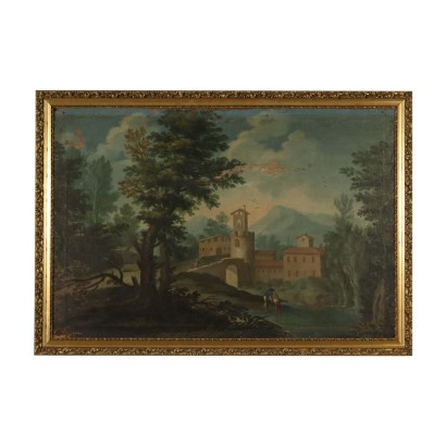 Landscape with Buildings and Figures Painting 18th Century