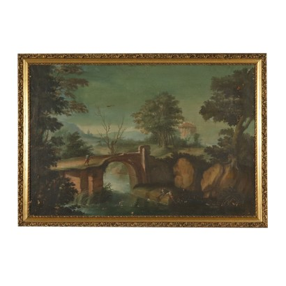 Landscape with River and Figures Painting 18th Century