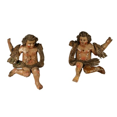 Pair of Baroque Cherubs Swiss Pine Wood Italy