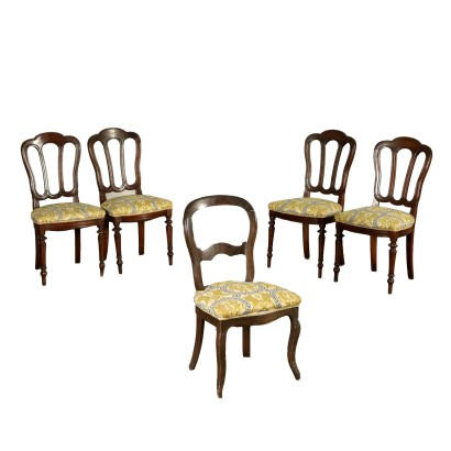 Five Walnut Chairs Italy 19th Century