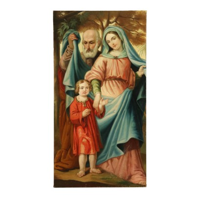 Holy Family Oil Painting on Canvas 19th Century