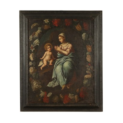 Worshipful Madonna and Child Painting 17th Century