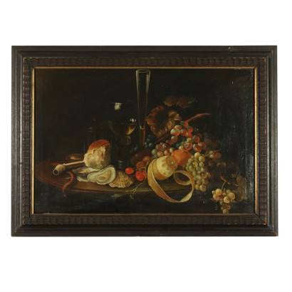 Still Life with Fruit Goblets and Shells Painting 19th Century