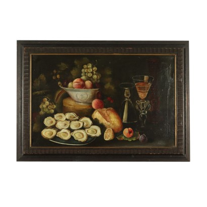 Still Life with Fruit and Oysters Painting 19th Century