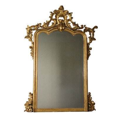 Large Carved Gilded Mirror Italy 19th Century