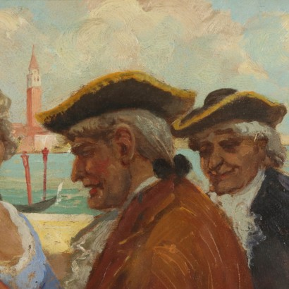 Genre Scene by Ettore Solvegni Venetian Figures Painting Late 1800s