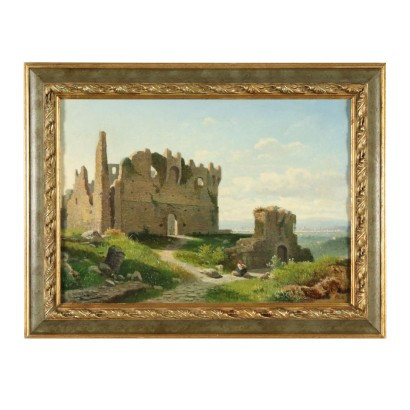 Landscape Painting by Lorenzo Gelati Glimpse of Florence 19th Century