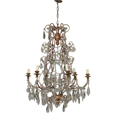 Glass Chandelier Six Arms Vintage Italy 20th Century